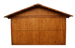 Side exterior of simple wooden house isolated on white background Stock Photos