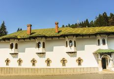 Side facade of Biserica Veche The Old Church at Sinaia Monastery. It was built in 1695 royalty free stock images