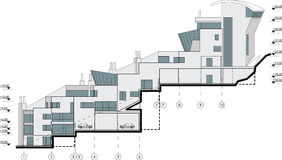 Side facade building drawing Stock Image