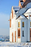 Side of the facade   church on a sunny winter day Royalty Free Stock Photography