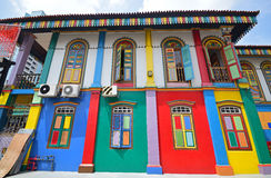 Side facade of the popular Tan Teng Niah Residence with vivid colour. Side facade of the Vibrantly coloured Tan Teng Niah Residence in Singapore. The residence ( royalty free stock image