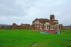 Side facade of ruined temple in Fortress Oreshek near Shlisselburg, Russia Stock Photography