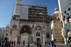 Side Facade Of St. Mark`s Cathedral In St. Mark`s Square At Sunset In Venice. Travel, holidays, architecture. March 28, 2015. stock images