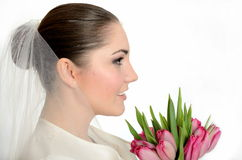 Side-face bride potrait Royalty Free Stock Image