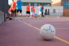 5 a side football team training Stock Image