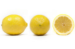 Side Front and Section view of a lemon. Side Front and Section view of a lemon with white background Stock Photography