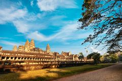Side Front view of Angkor wat temple in Cambodia Royalty Free Stock Photography