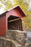 Side Front View Roddy River Covered Bridge Maryland State stock images