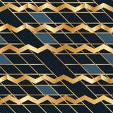Side golden blue square Chevron disturb seamless pattern Royalty Free Stock Photos
