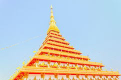 Side of Golden pagoda at the Thai temple, Khonkaen Thailand Royalty Free Stock Photos