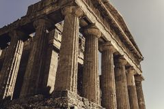 Side of greek temple stock image
