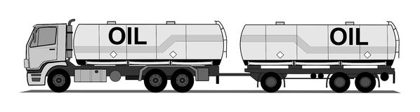 A side illustration tank truck with trailer Stock Photos