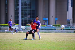 Side kick the ball from socker in thailand Stock Photography