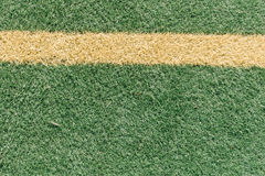 Side line on artificial turf grass at soccer field Stock Image