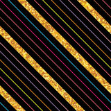 Side line stripe golden glitter seamless pattern. This illustration is drawing side line with strip golden glitter in black color and seamless pattern Royalty Free Stock Photo