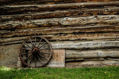 Side of a log cabin Stock Images