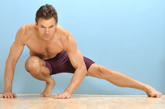 Side lunge stretch Stock Images