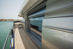 Side of a luxury yacht with panorama window Stock Photography