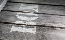 Side Macro Of Wood Panels With A BOX Logo Stock Photography