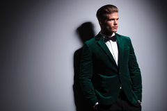 Side of a man in green velvet elegant suit Royalty Free Stock Image