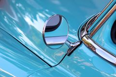 Side Mirror On Car. Side mirror on old classic car Royalty Free Stock Image