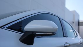 Side mirror car, wing mirror fold - car side view folded. Side mirror car, wing mirror fold - car side view mirror folded stock footage