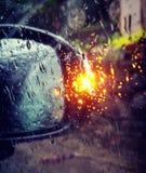Side mirror. Light on raining Stock Photo
