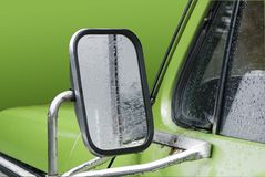 Side mirror in pickup truck Stock Photo
