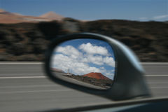 Side Mirror with Volcano Royalty Free Stock Photography