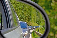 Side mirrors car. Behind is a traffic jam Royalty Free Stock Images