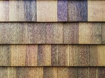 Texture: Cedar siding shingles on a house-1. The side of a modern American bungalow style house, newly renovated. These are cedar shingles, giving a wonderful Royalty Free Stock Photos