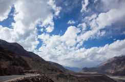 Side mountain road with electrical wire. Road beside the mountain with an electrical wire in the front, Leh Ladakh Stock Photography