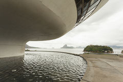 Side of Niterói Contemporary Art Museum building Royalty Free Stock Photography