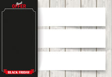 Side Oblong Banner Black Friday Wood Papers. Oblong banner with 3 stripes and wooden background Stock Photos