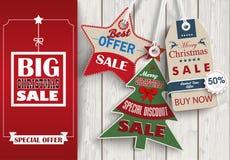 Side Oblong Banner Christmas Sale Wood 3 Shopmarks Royalty Free Stock Image