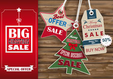 Side Oblong Banner Christmas Sale Worn Wood 3 Shopmarks. Oblong banner with ribbon for christmas sale on the wooden background Royalty Free Stock Photography