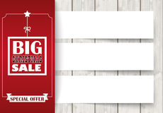 Side Oblong Christmas Sale Wood 3 Banners Royalty Free Stock Photo