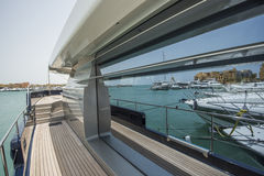 Side Of A Luxury Yacht With Panorama Window Royalty Free Stock Photo