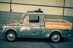 Side of Old Scratched Fiat Truck-Vintage Style Royalty Free Stock Photos