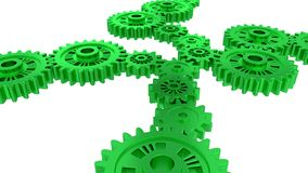 Side and Perspective View of Several Green Gears. With a white background Stock Photo