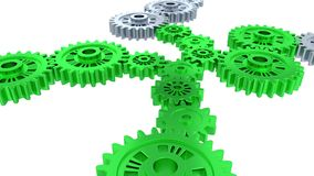 Side and perspective view of silver gears in rotation becoming green step by step. With a white background stock illustration