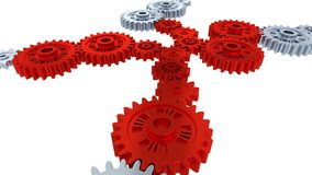 Side and perspective view of silver gears in rotation becoming red step by step. With a white background stock footage