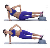 Side plank hip raise. Step by step instructions: Get in the side plank position, leave your hip on the ground to begin with. (A) Then use your core muscles to stock image