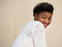 Side portrait of a cute young african american woman Stock Image