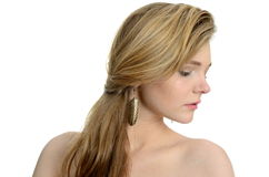 Side portrait with earring Royalty Free Stock Images