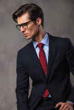 Side portrait of an elegant business man in suit Stock Image