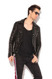 Side portrait of a fashion model in leather jacket Royalty Free Stock Image