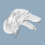 Side portrait of Saluki dog in paper cut style Royalty Free Stock Images