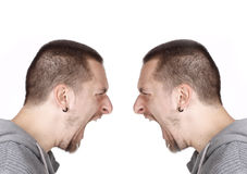 Side portrait of a shouting man Royalty Free Stock Photo