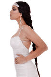 Side pose of Bride with long Stock Images